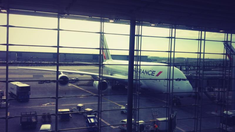 Air France A380 parked at the gate at CDG